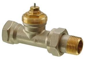 . DIN-norm, for 2-pipe heating systems Valve bodies made of brass, mat nickel-plated DN 10,
