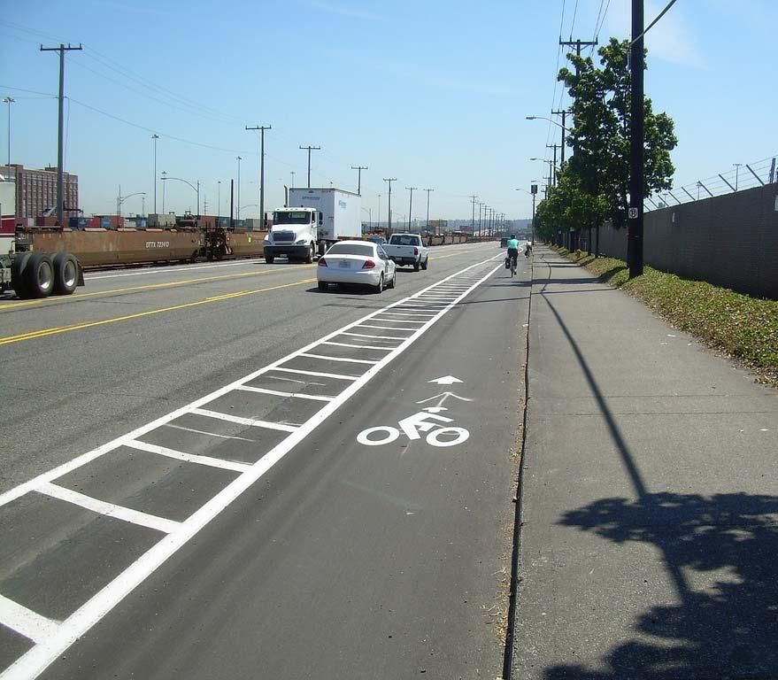 BUFFERED BIKE LANES Between the bike lane and parking