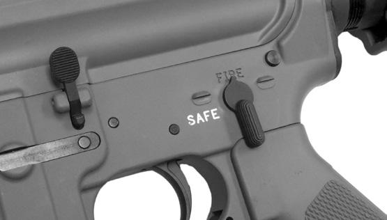 1) FIRE Note: Remove the magazine and make sure your rifle is unloaded and there is no ammunition in the chamber. Point the rifle in a safe direction. Place the selector on fire.