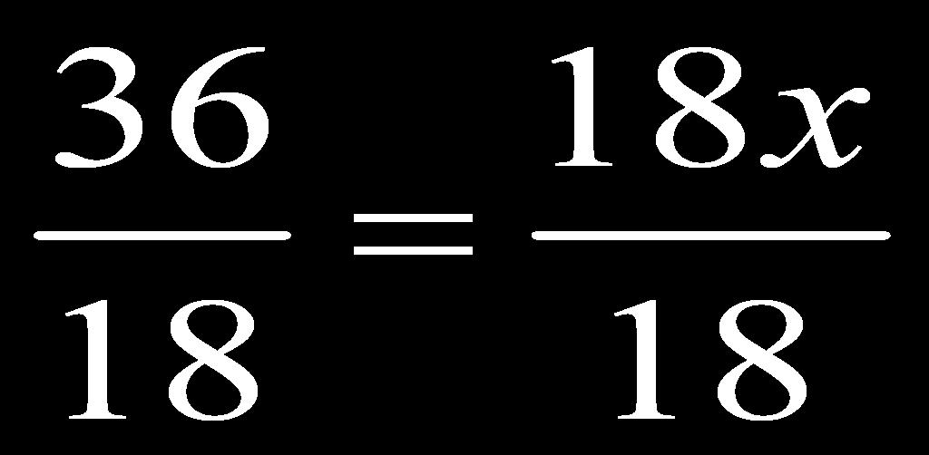 When I cross multiply here I get 3(12) = 18(x)...or 36 = 18x I still need to solve the equation.