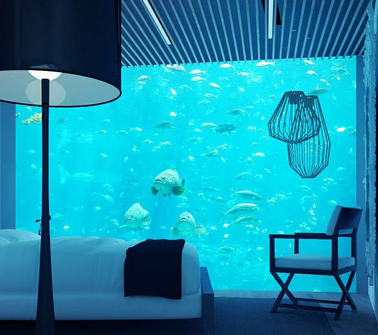 Enjoy the luxury views from your underwater apartment.