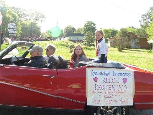 19) Parade in Spring with top JRFH fundraiser riding in a convertible.