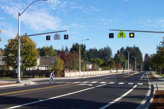 A flashing beacon is typically placed on a post on the side of the roadway, but can also be installed over a lane.