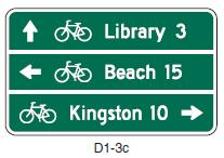 Wayfinding is typically accomplished through the use of signs, however, pavement markings can supplement the signs.