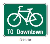 The wayfinding may convey several factors including: Which roadways are designated as bicycle facilities Directions to key areas or