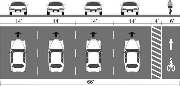(westbound only) Original cross section: 5 lanes Cross section with bicycle lanes:
