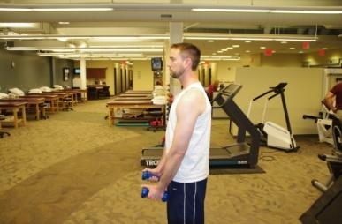 Standing Shoulder Flexion Stand with elbow straight and