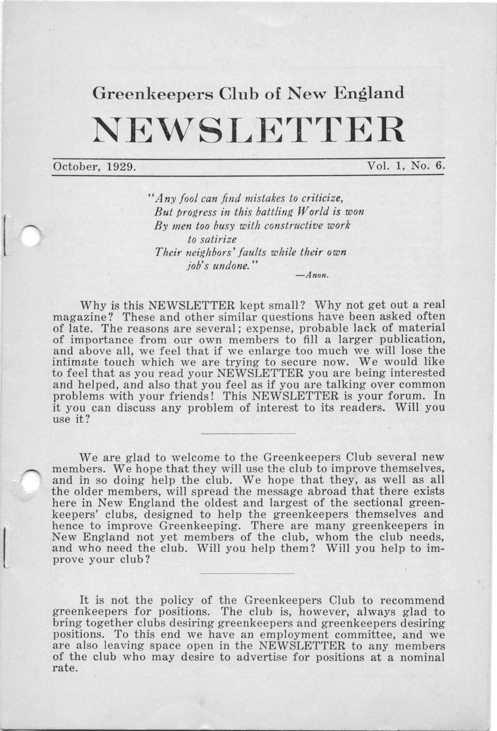 Greenkeepers Club of New Englnd NEWSLETTER October, 1929. Vol. 1, No. 6.