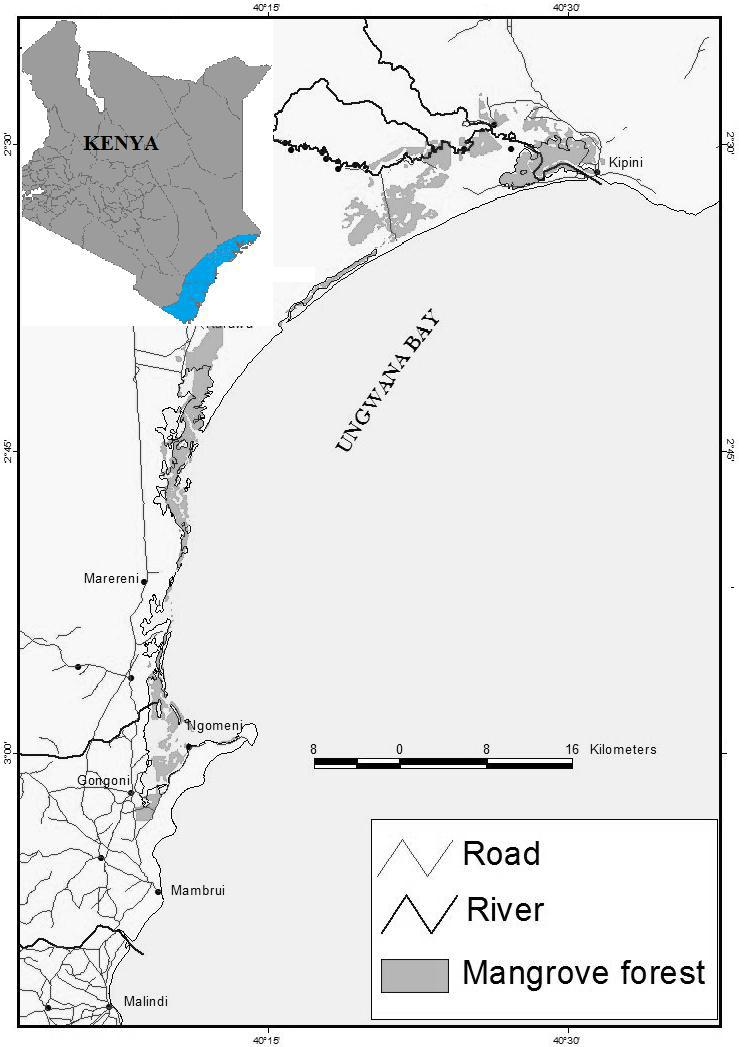 80 C. M. Aura et al. MATERIALS and METHODS Study areas Malindi is a coastal town near the south of Malindi-Ungwana Bay which lies between 3 o 30 S - 2 o 30 S and 40 o 00 N - 41 o 00 N (Fig. 1).