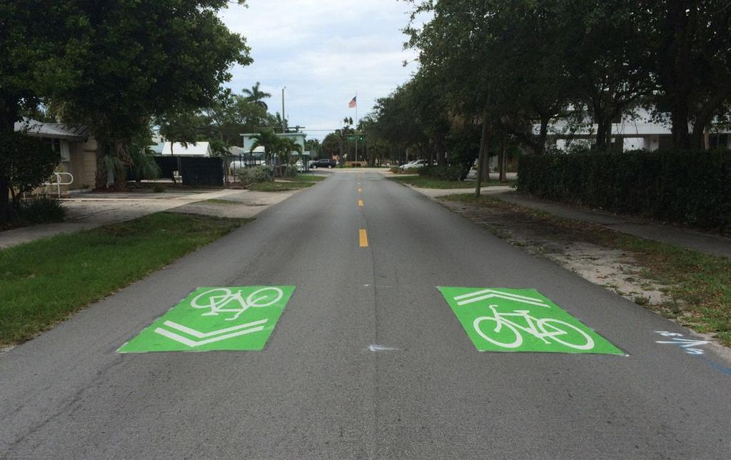 vehicles by pavement markings. They improve safety and comfort by increasing the visibility and awareness of cyclists, and help bicycling to better appeal to all levels of experience.