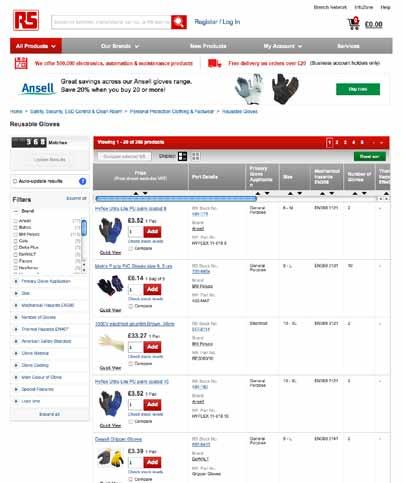 Searching RS for Reusable Gloves The RS site search facilities Reusable Gloves Search Page The facilities on our site have been updated to dramatically enhance the search and filter experience.