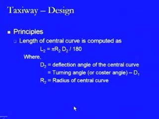 (Refer Slide Time: 46:32) Now, the length of the central curve is computed by the formula pi into R 2 into D