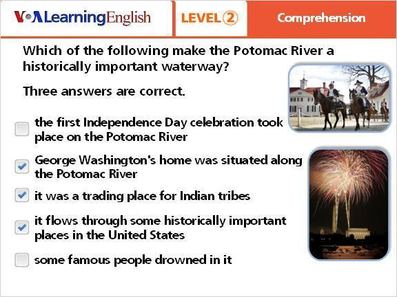 Question 2 the first Independence Day celebration took place on the Potomac River George Washington's home was situated along the Potomac River it was a trading place for