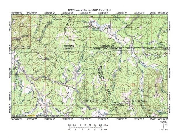 Figure 3: Hog Park Creek-Middle Fork Little Snake drainage divide area. United States Geological Survey map digitally presented using National Geographic Society TOPO software.