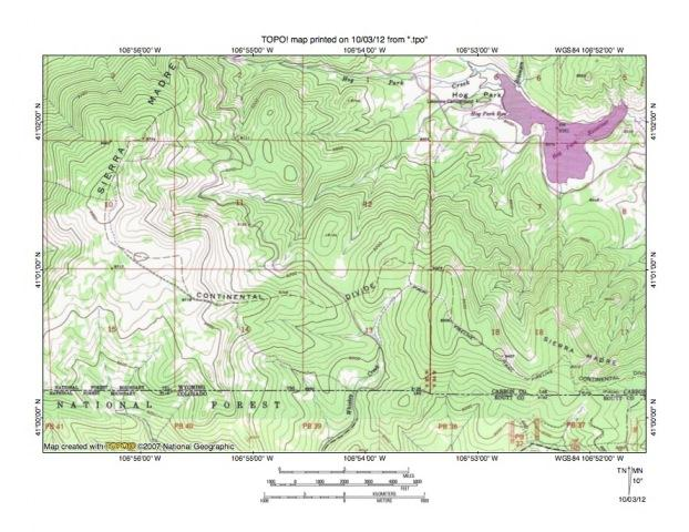 Figure 4: Detailed map of Hog Park Creek-Whiskey Creek drainage divide area. United States Geological Survey map digitally presented using National Geographic Society TOPO software.