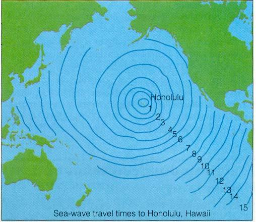 Consider an earthquake with its epicenter at Honolulu, Hawaii.