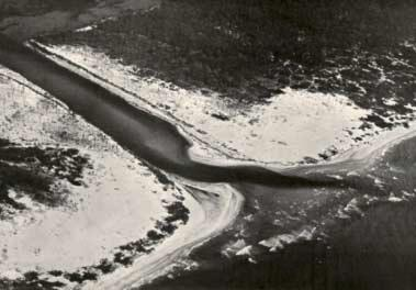 Figure 1. St. George Island Channel, Florida, before jetties (1955). Figure 2.