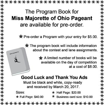 Miss Heart of Ohio (open Dress model - no interview) ORDER OF EVENTS Best Appearing OHIO BASIC SKILLS PAG. BEST APP. BEG. & INT. PAGEANT B.A. ADV. MISS MAJ.