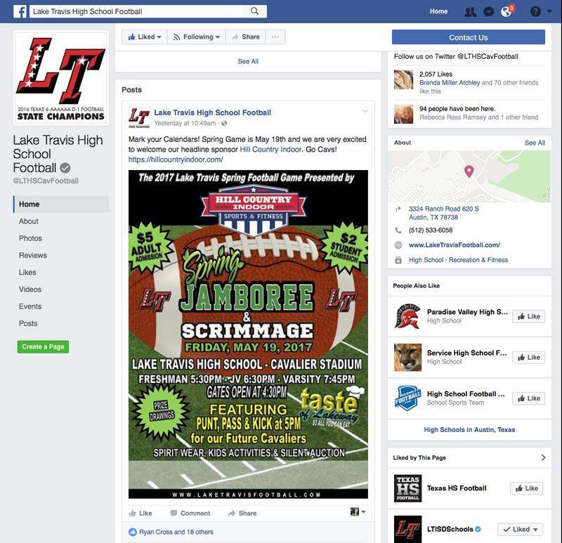 Social Media - Twitter and Facebook - The LT Football Booster Club manages the Lake Travis football Twitter and Facebook pages.