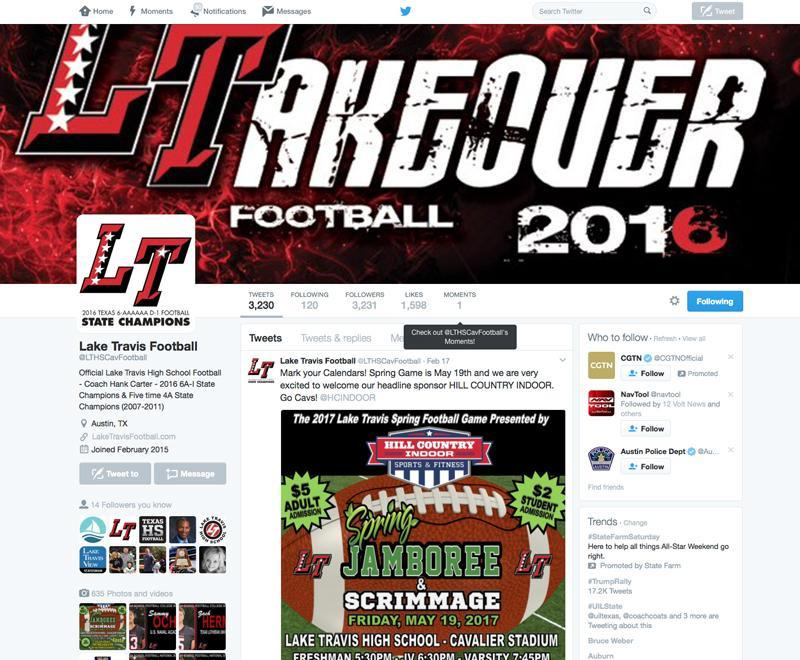 Local media outlets, college coaches/recruiters, and the general public consider these pages as an official source of information and communication for the Lake Travis football program.