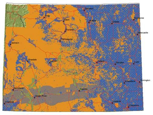 5 Map 1. Aggregate seasonal range on private lands (blue) and public lands (orange) for six major big game species in Wyoming. Yellowstone National Park was not included in this analysis.