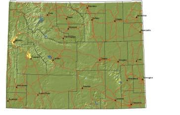 6 Map 2. Seasonal range on private lands for bighorn sheep in Wyoming.