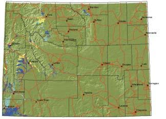 for this species. Map 3. Seasonal range on private lands for elk in Wyoming.