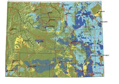 8 Map 7. Seasonal range on private lands for pronghorn in Wyoming. See Map 2 for explanation of colors.