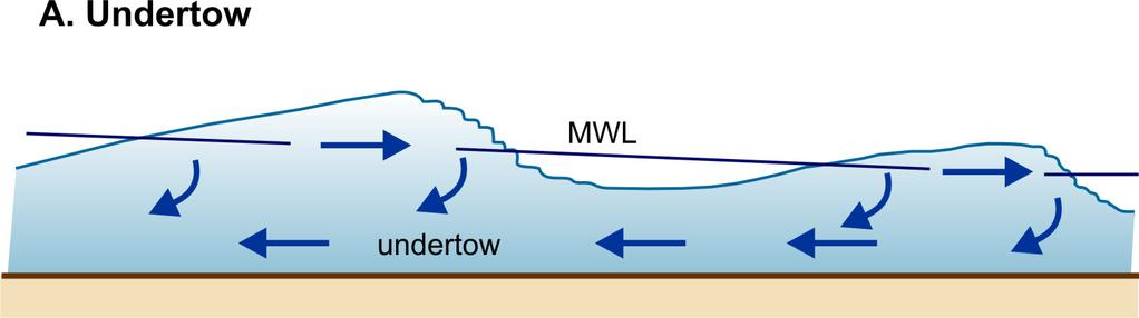 Undertow - Force Balance in the Surf Zone Wave set-up produces a water surface slope (pressure gradient) that acts to counter the landward momentum flux associated with waves (radiation stress