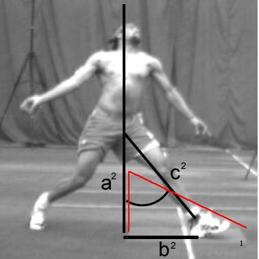 legs (i.e. the two sides other than the hypotenuse). Question 15: How does Pythagorus theorem relate to fast bowling and injury? What is the angle of the front leg at FFC?