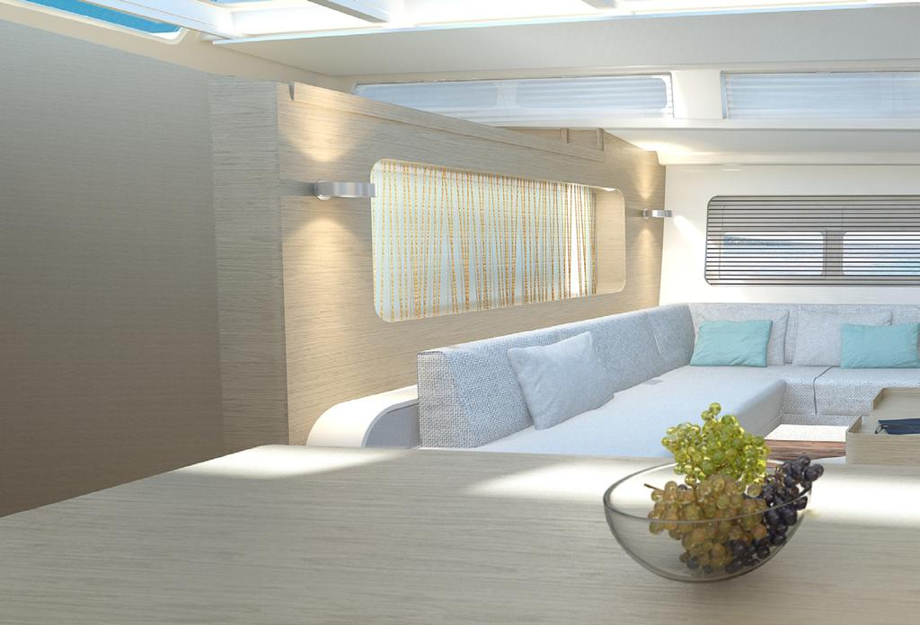INDIVIDUAL CUSTOMIZATION The interior space of the 675 defines a new dimension in private sailing.