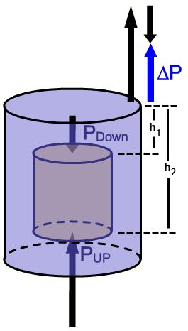 Replacing top and bottom with the more general 1 and 2, the pressure difference between the top and bottom is ΔP = P 2 P 1 = the gauge pressure, ρ g h.