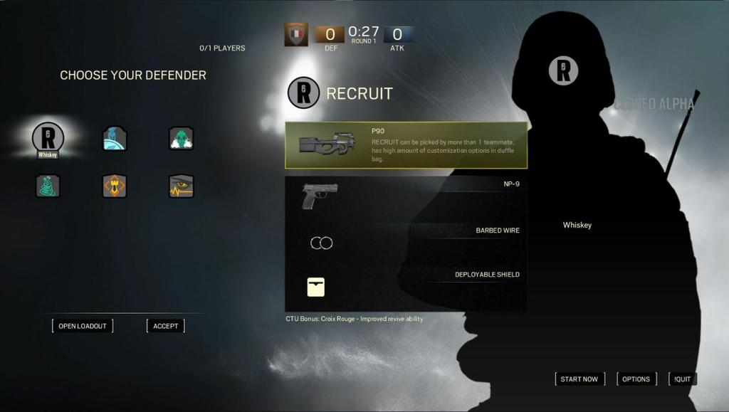 RECRUITS There is also the option to select a Recruit. Recruits are operatives that are less specialized, but very versatile. They can both Attack and Defend and have broader loadout options.