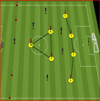 Ask players to reach in and touch the ball and then back off to the cone using small, quick steps whilst keeping their eye on the ball. Next player goes straight away.