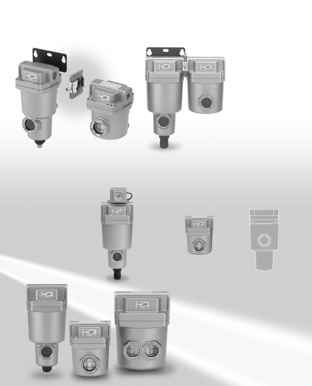 Compressed ir Cleaning Filter Series M /FF Series For Water Droplet, Solid/Oil Separation and Deodorization Modular connection, Space-saving design, Labor-saving in piping!