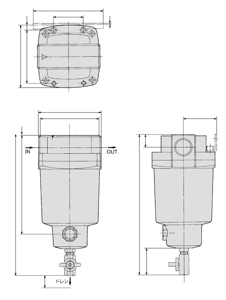 FF Series Dimensions FF75B 18 2 1 3 2 184 2 180 1 Bracket ccessory 15 180 24 () 13 42 View B 30 348 2 x port size 1 /2, 2 female threaded Drawing of view B 44 uto drain D: With auto drain (N.O.