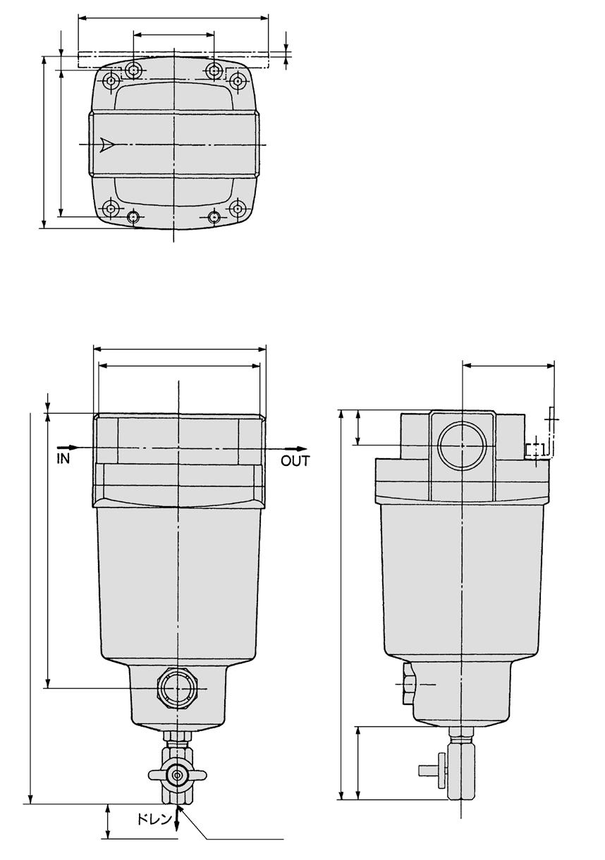 MD Series Dimensions MD850 2 1 18 180 24 () 15 13 2 184 2 180 1 Bracket ccessory 42 3 View B 30 348 2 x port size 11/2, 2 female threaded Drawing of view B 44 41 uto drain D: With auto drain (N.O.