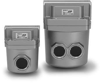Odor Removal Filter MF Series RoHS Efficiently can remove odor in compressed air with an activated carbon element. Use this unit for applications sensitive to odors, such as for clean rooms.
