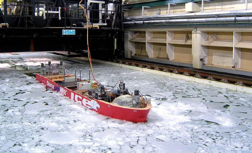 Figure 5: Model of Stena DrillMAX ICE in the model tank at HSVA In addition to the formal tests in well documented ice sheets, tests were also performed by turning the vessel 18 at zero ice drift