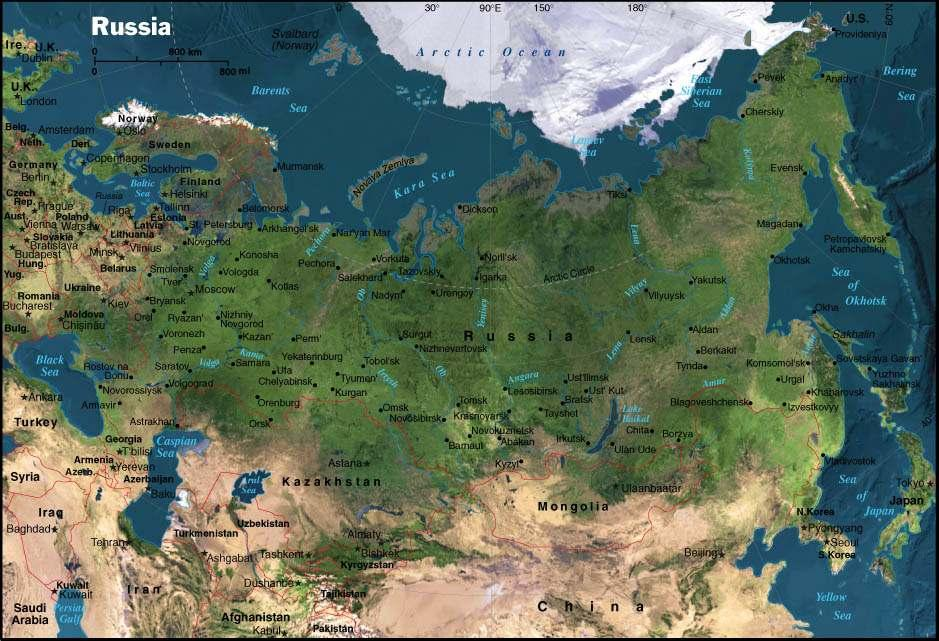 Russia is the largest country in the world with the total area 17 075 400 square kilometres (over 6.5 million square miles). The territory of Russia spans through 11 times zones.