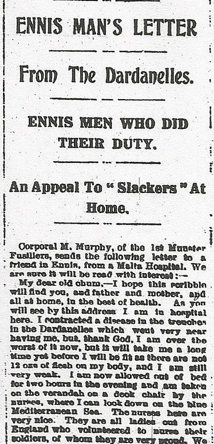 Corporal M Murphy Corporal M Murphy: Ennis. Royal Munster Fusiliers 1 st Bn.