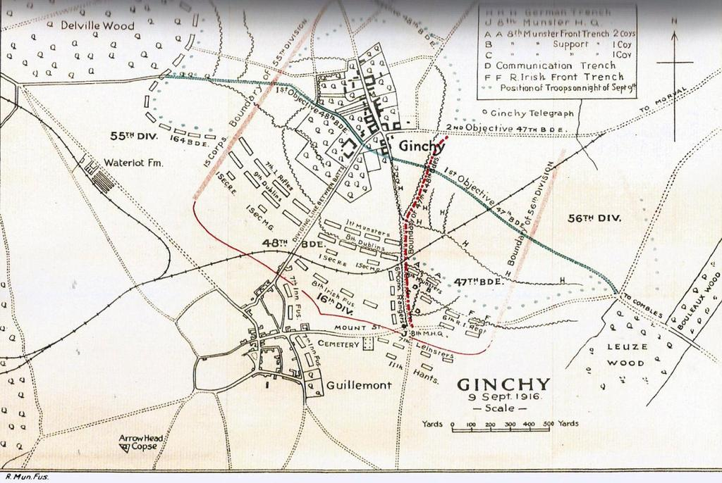 France: The Somme - Ginchy September 9 th 1916 Troop position after battle 8 th & 9 th RDF 7 th RIF Ginchy 1 st RMF 48 th Brigade 8 th RMF 47 th Brigade Guillemont On 9 September, the 48 th Brigade