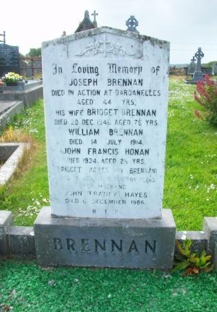 Private Joseph Brennan Private Joseph Brennan Joseph Brennan:Born in 1872 in Kilrush, killed in action 21 st August 1915 on Scimitar Hill Suvla Bay in Gallipoli age 44, Royal Munster Fusiliers 1 st