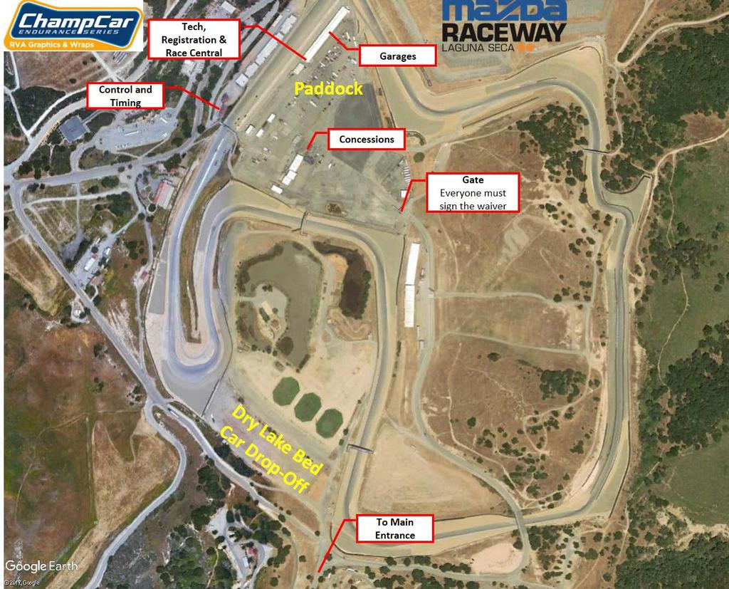 Map: Laguna Seca Thursday Schedule: Until 6PM Car/Trailer Drop-Off at Dry Lake Bed Laguna Seca Friday Schedule: 7:00am Gates Open Tech & Registration Open 9:30am Drivers Meeting Pit Road