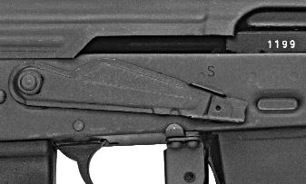 When the safety lever is in its upper position on the receiver, the rifle is in SAFE. (See Illustration #.) When the safety lever is in the lower position, the rifle is set for semi-automatic FIRE.