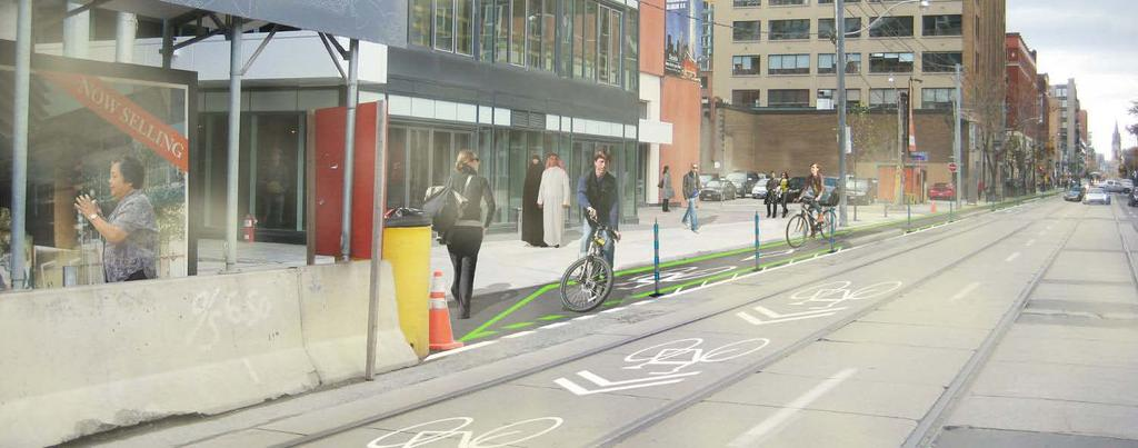 Richmond Street and Adelaide Street, George** to Sherbourne Boulevard Widening Option Cycle Track and Buffer Widths Provide Room for Cyclist Passing and