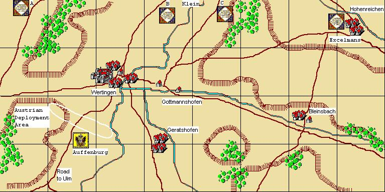 Wertingen 8th October, 1805 Scenario Notes: Umpire`s notes (shorter scenario): Joined by the Latour Chevaulegers, Auffenberg`s command may be deployed south-west of Wertingen, Schloss Wertingen may