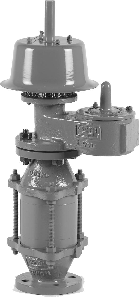 MODEL 8800A USED ON DIGESTERS AND GAS HOLDERS A combination of the Groth Model 1200A pressure relief and vacuum breaker vent and Groth Model 7618 flame arrester make up the unit.