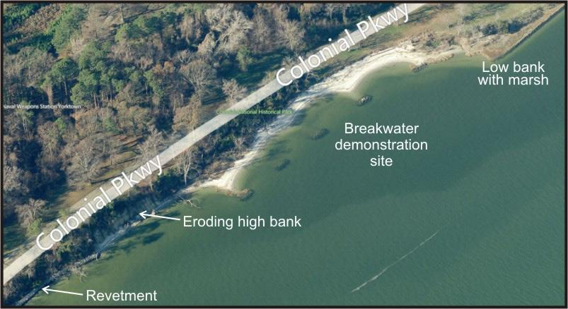 Along this stretch of shoreline, various erosion control devices have been installed where infrastructure is threatened.