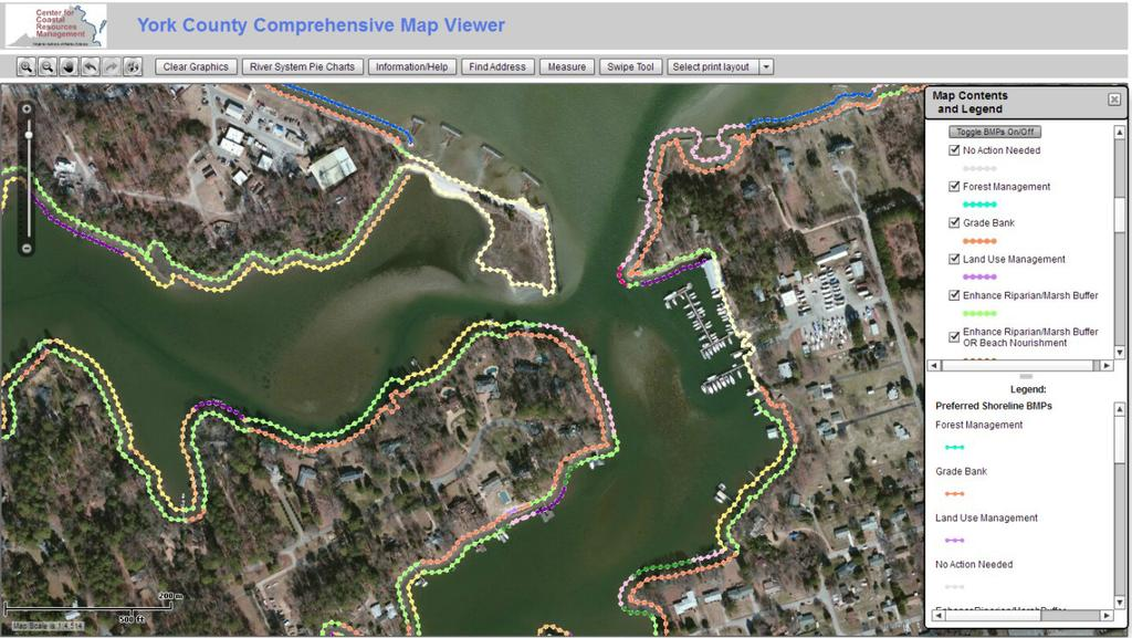 Figure 5-2. The Map Viewer displays the preferred Shoreline BMPs in the map window.